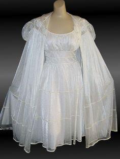 Vintage 60s Bridal Nightgown and Peignoir Set Gotham Gold Stripe    virginiarosevintage.com