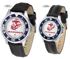 The Competitor Sport Leather US Marine Corps Watch is available in your choice of Mens or Ladies styles. Showcases the US Marine Corps logo. Free Shipping. Visit SportsFansPlus.com for Details.