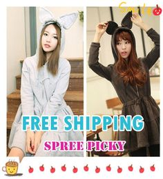 {Free Ship} Bunny Ear Peplum Hoodie Dress Zip Up Jacket Coat SP130192
