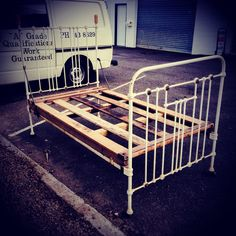 Vintage cast iron bed - very shabby with loads of character