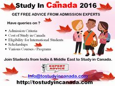 Want #toStudyinCanada ? Looking for #information & #advice from experts. For #UnderGraduateStudiesinCanada #HigherStudiesinCanada #GoodCollegesinCanada #MSinCanada. This is right time to apply. Visit us at ..http://bit.ly/1VZcggk