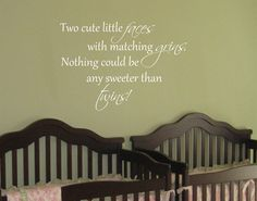 Nothing is sweeter!  Baby Twin Saying Quote Wall Decal Nursery Vinyl Decor. $21.00, via Etsy.