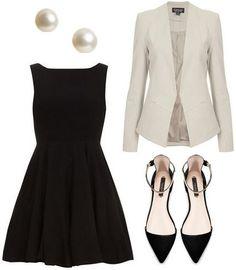 Black dress, white jacket