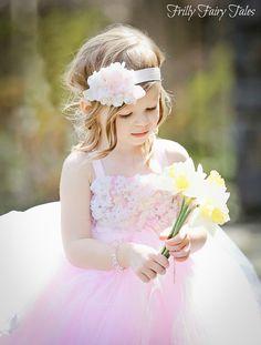 Vestido de la muchacha de flor rosa luz