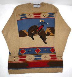 Lizsport Horse Rodeo Southwest Women's Sweater Tan Sz Small Horses #Lizsport #Pullover