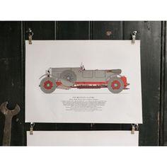 1928 Bentley English Sports Car Book Leaves - Pedlars Friday Vintage - Pedlars Vintage