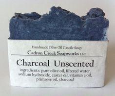 Activated Charcoal Soap  Men Soap Charcoal by CadronCreekSoapworks, $6.00 Charcoal Bar, Wooden Soap Dish, Activated Charcoal Soap, Unscented Soap, Mens Soap, Vegan Soap, Pure Oils, Castile Soap, Soap Packaging