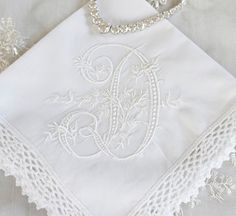 Lace Trim Or Hemsched Edge Handkerchief Cotton Bridal Wedding Crocheted