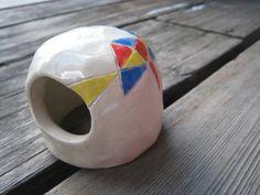 Little Ceramic Fish Cave  Geometric Design  Red by WhiteCitrus, $15.00