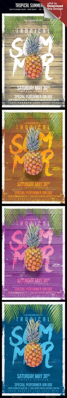 """beach, break, club, disco, event, exotic, flower, fruit, girl, holiday, house, jungle, music, night, nightclub, palm, paradise, poster, reggae, rnb, salsa, sexy, spring, summer, summer party, tropical, water, wild, woman, wood Tropical Summer Flyer A unique party flyer, invitation design for your next party. The final package you download includes a fully layered, renamed, grouped PSD file.   Print dimensions:   4×6"""" + .25"""" bleed   Features:  Images are Smart Objects Easy editable text…"""