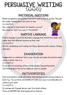 Persuasive Texts - Writing Samples with Comprehension Questions Persuasive Writing Techniques, Persuasive Speech Topics, Persuasive Words, Essay Writing Skills, Writing Traits, English Writing Skills, Writing Words, Writing Lessons, Teaching Writing