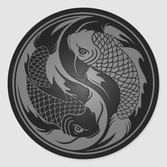 Shop Grey and Black Yin Yang Koi Fish Classic Round Sticker created by UniqueYinYangs. Personalize it with photos & text or purchase as is! Yin Yang Fish, Sketchy Tattoo, Japanese Tattoo Art, Black Dragon, Symbolic Tattoos, Arabic Tattoos, Tattoos Gallery, Ancient Symbols, Sleeve Tattoos