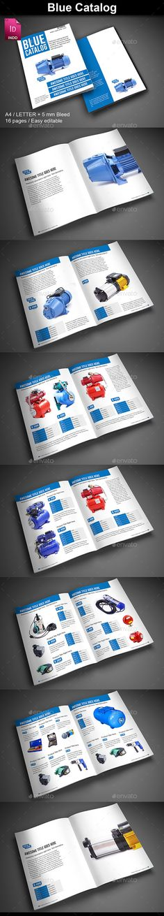 Blue Catalog Template #brochure #design Download…