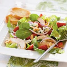 Chicken and Strawberry Salad Recipe | MyRecipes.com.  Nutritional Information  Calories333  Fat16.4 g  Satfat4.9 g  Monofat8.3 g  Polyfat2.1 g  Protein32 g  Carbohydrate14.8 g  Fiber3.5 g  Cholesterol83 mg  Iron2.5 mg  Sodium347 mg  Calcium156 mg