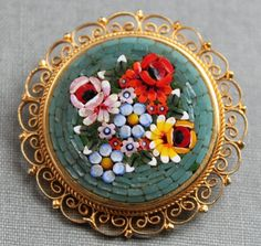antique Italian micromosaic floral brooch