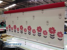 A bespoke senses roller design by Harmony Blinds of Bolton. Fabric: Erin Red from with raspberry fabric pelmet. Colours, Roller Blinds, Blinds, Fabric Blinds, Roller Design, Curtains, Valance Curtains, Home Decor Decals, Home Decor
