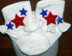 Infant Size 0-5 Patriotic Stars on White Crocheted by BeachDawn