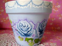 Decorative Clay / Terracotta Flower Pot Hand Painted Toile Blue Roses Cottage Chic HP. $15, via Etsy.
