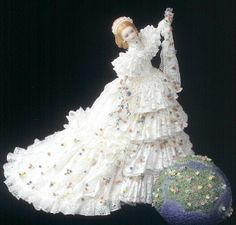 Porcelain Lace Draping Doll (the lace is covered in porcelain slip, fired and then only porcelain is left)