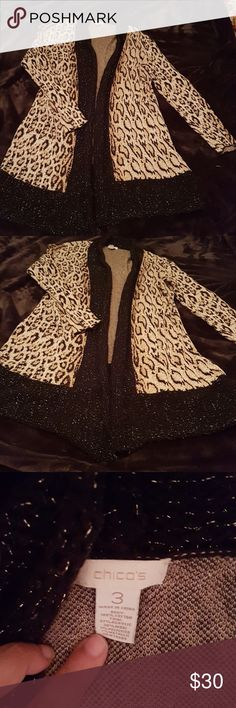 🍁CHICO'S LEOPARD CARDIGAN🍁 This Cardigan is a great option for the change of weater!! ✔PRE-LOVED!! Wore more than a few times and washed a few times too! Ask if you have questions. Item still in good condition!! ✔Materials in picture. ✔Look at all the pictures. ✔Size 3 Chico's, which i would say is Large in regular size. (16) ✔MEASUREMENTS: Shoulder to shoulder: 18inches (aprox) . Shoulder to bottom:34inches (aprox) ✔COLOR: Leopard with black/gold edges. ✔Ship fast. Smoke free. Bundle for…