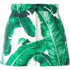 Dolce & Gabbana tropical shorts featuring polyvore, women's fashion, clothing, shorts, green, green shorts, cotton shorts and short shorts