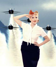 #pinup #paulawalks #airforce #air #vintage #retro #vintagehair #pinupgirl #usa #classic #beautiful #cute #sweet #woman #lady #jewelry #accessorie #pretty #redlipstick #victoryrolls #rockabella