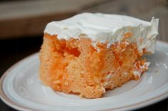 Orange Creamsicle Cake Orange Creamsicle Cake  1 box of Orange Cake Mix prepared according to the directions 1 box of Orange Jello 1 cup of boiling water 1 box of Vanilla Pudding 1 cup of cold milk 1 regular tub of Cool Whip