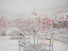 the obliteration room, 2002-present furniture, white paint, dot stickers / dimensions variable collaboration between yayoi kusama and queensland art gallery commissioned queensland art gallery, australia / gift of the artist through the queensland art gallery foundation 2012