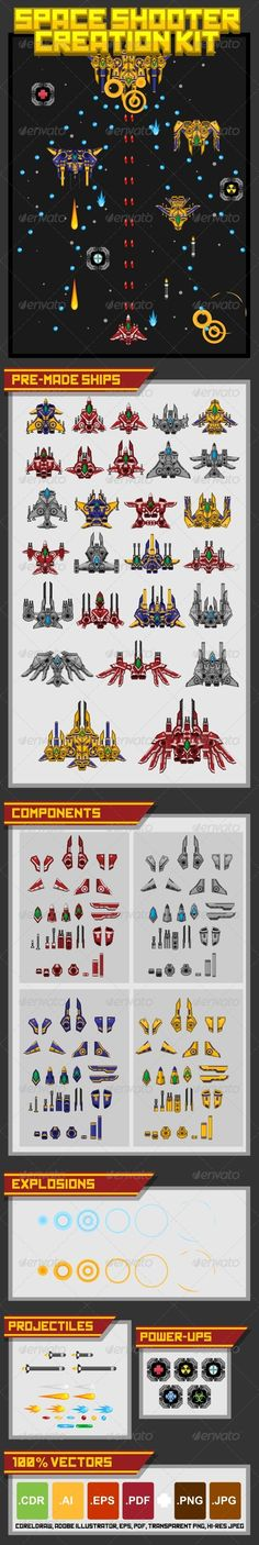 Build your own spaceship with the available components.  Drag & drop, change color, resize, rotate, and you'll get your ultimate spaceship. It offers unlimited combinations…  With some supporting items for creating a complete space shooter games.  #game #asset #spritesheet #sprite #shooter #space #ship