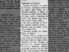 EDWARD O'CONLEY, 54 owner O'Conley Amblulance Svc. died fri at Barstow Hospital