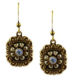 Antique Gold Plated Swarovski Crystal Ornate Square Dangle Earrings