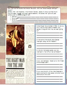 In this lesson, students will read about George Washington and his election as the first President of the United States. Students will also learn about the immediate effects of the American Revolution, including how many loyalist colonists felt and reacted.