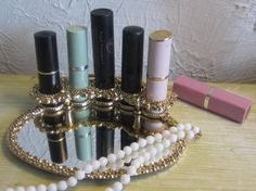 Vintage Gold Gilded Lipstick Holder With Base by WhenRosesBloom, $18.50