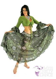 Belly Dance Green Patterned Chiffon Skirt