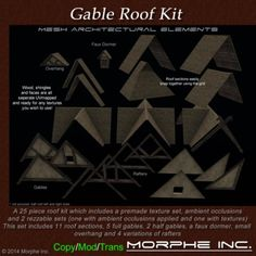Second Life Marketplace - Gable Roof Kit package