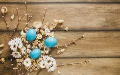 Télécharger fonds d'écran Printemps, de Pâques, en bois, fond, bleu, oeufs de pâques, fleurs de printemps