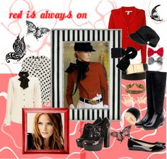 """""""Red is always on"""" by crisoca ❤ liked on Polyvore"""