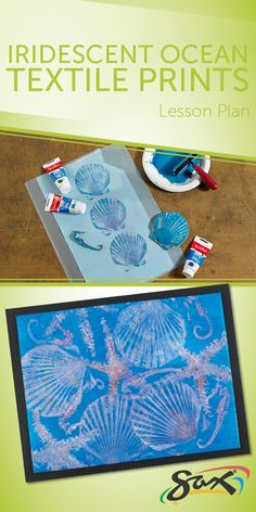 Create shimmering ocean images with this lesson plan for Iridescent Ocean Textile Prints. Included with the plan are complete directions, material list (supplies for 25 projects!), grade levels, cross-curricular subjects and national standards correlation Ocean Lesson Plans, Art Lesson Plans, Ocean Projects, Art Projects, Summer Crafts, Summer Art, Ocean Activities, Under The Sea Theme, Ocean Crafts