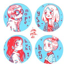 Shy Girls Sticker Set by Iraville.deviantart.com on @DeviantArt