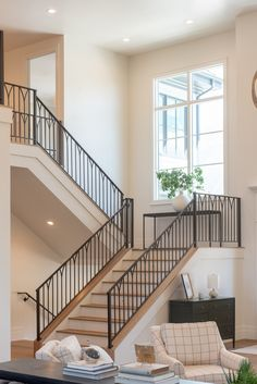 Metal staircase railing with White Oak Treads and trim Elegant Metal staircase railing with White Oak Treads and trim Metal staircase with White Oak Treads and trim Elegant Metal staircase railing with White Oak Treads and trim Metal staircase railing #Metalstaircaserailing #WhiteOakTreads #Staircasetrim #Elegantstaircase #staircasewithWhiteOakTreads #WhiteOakTreads #staircase Metal Staircase Railing, Rustic Staircase, Stairs, Cabin Interiors, Wood Interiors, Beautiful Bathrooms, Beautiful Kitchens, Cabin Interior Design, Black Kitchen Cabinets
