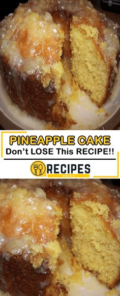 PINEAPPLE CAKE This was so good! The Glaze was the best I have ever had. I will use the Glaze for all the other cakes I make in the future. This cake . Cake Mix Recipes, Pound Cake Recipes, Best Pound Cake Recipe Ever, Bunt Cakes, Cupcake Cakes, Cupcakes, Cake Fondant, Ricotta, Best Nutrition Food