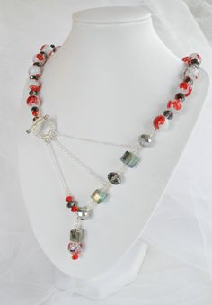 Roses and Stems  Red Flowers on White Beads Pale di adrienneadelle, $135.00