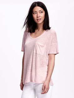 Short-Sleeve Linen-Blend Boyfriend Tee for Women Product Image