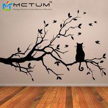 Katze Auf Baum Niederlassung Vögel Vinyl Wandaufkleber Wandkunst Dekorative Aufkleber, Glasfenster Aufkleber Küche Wandaufkleber Home Decor