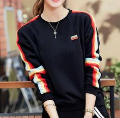 Color block striped sweatshirt for women black pullover