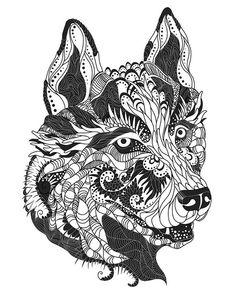 Animali/natura Immagini, fotografie, foto - Fotografie a tema Animali/natura Free Adult Coloring Pages, Animal Coloring Pages, Colouring Pages, Coloring Books, Coloring Sheets, Head Tattoos, Dog Tattoos, Husky Tattoo, Colour Images
