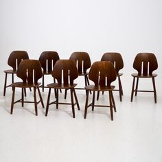 Ref. 13390-1D   RARE SET OF EIGHT DANISH DESIGN TEAK WOOD CHAIRS, SIGNED IN MONOGRAM.  H. 77 H-seat. 44 W. 43 D. 41 cm.  H. 30.3 H-seat. 17.3 W. 16.9 D. 16.1 in.   Price: € 2.000 https://selected-design-antiques.com/13390-1d-rare-set-of-eight-danish-design-teak-wood-chairs-signed-in-monogram