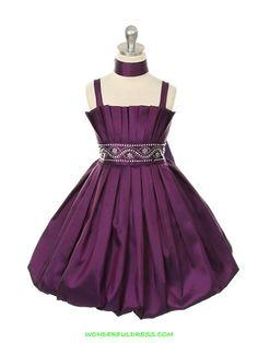 Purple Tafetta Rhinestone Accented Flower Girl Dress