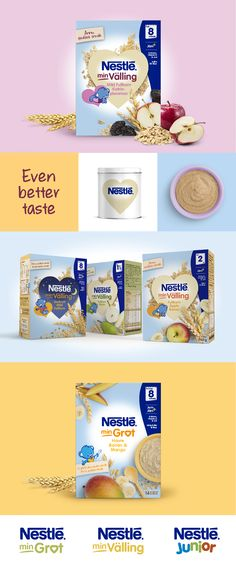 Brand identity & packaging design for Nestlé nutrition, babyfood cereals by IDnaGroup. https://www.behance.net/gallery/38119683/Nestl-Cereals-Brand-Identity