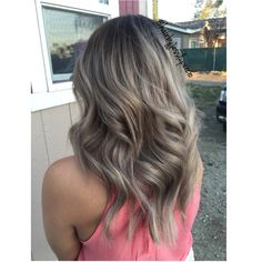 Ashy grey balayage hair